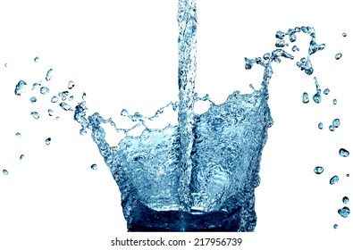 Water jet with splash and drops on white background. Isolated with clipping path