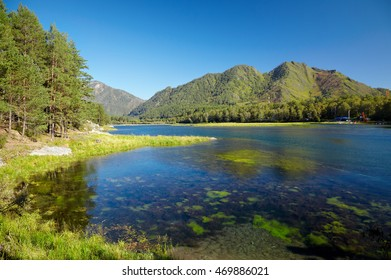 Water landscape with reservoir of Altai Chemal hydroelectric power plant