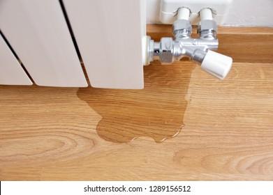 water leak through the heating radiator tube nut