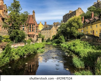 Water of Leith flowing through Dean Village, a picturesque historic district in Edinburgh Scotland