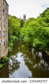 The Water of Leith and the Holy Trinity Church on the edge of Dean Village, Edinburgh, Scotland