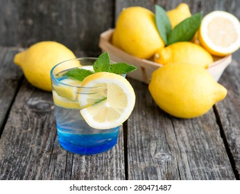 water with a lemon