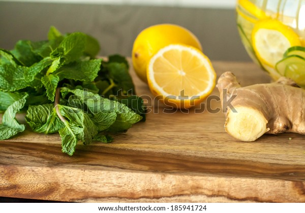 Water with lemon, ginger, cucumber, mint