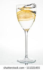 Water with lemon, splash