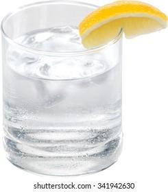 Water with lemon wedge