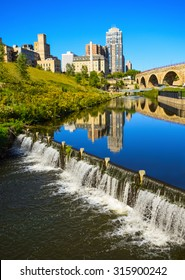 Water level control dam at Mill Ruins Park in downtown Minneapolis.