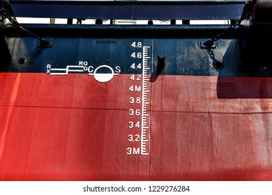 The water level gauge on the hull is also a waterline on September 1st -2018, in Luannan, Tangshan City, Hebei, China.
