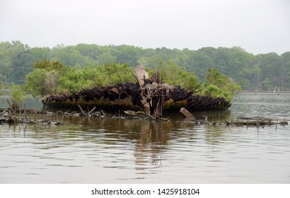 A water level view of the hull of the Old Abandoned Boat of the Mallows Bay shipwreck ghost fleet on the Potomac River in Charles County Nanjemoy Maryland on a cloudy summer day.
