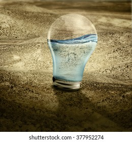 Water in light bulb on dried land