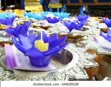 Water lily candle for worship Buddha and goddess in religion of Thai folklore, Sometime can use for therapy and healthy in spa shop.