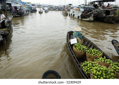 water market in Mekong Delta, South of Vietnam, Asia