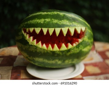 water melon art cut shark teeth mouth close up photo