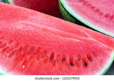 Water melon cut - macro close-up detail