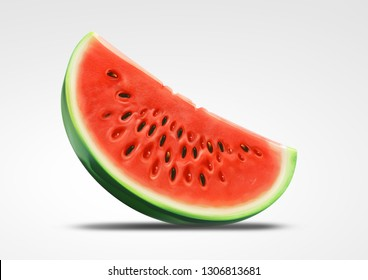 Water Melon Slice Slanted Angle