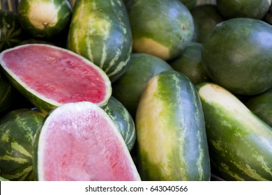 Water Melons on a market stall in Queensland, Australia. Full-frame, Background, Healthy Food.