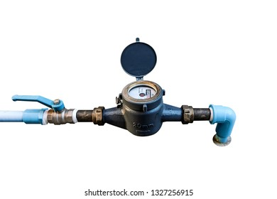Water meter on white background, Measuring device, Open cover of water meter to check counter number of water consumption, water pipe and meter with waterspout of home