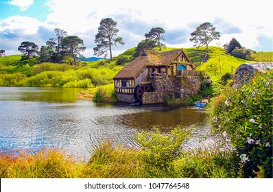 Water mill in Hobbiton, New Zealand