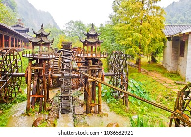 water mill on ecology square of huanglong cave scenic area, zhangjiajie hunan china