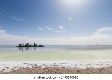 water mining ship on qarhan salt lake against a sunny sky, golmud city, qinghai province, China