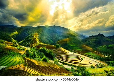 Water on field terraced of Mu Cang Chai, YenBai, Vietnam. Vietnam landscapes.
