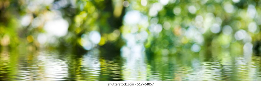 water on green blurred background closeup