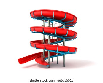 Water park red blue 3d rendering on white background