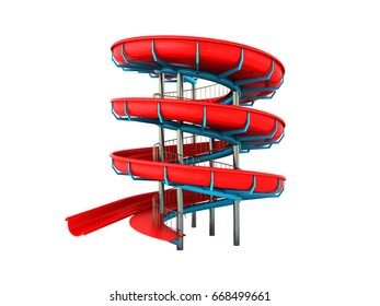 Water park red blue 3d rendering on white background no shadow