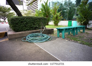 Water pipe and hose in the garden for gardening the tree