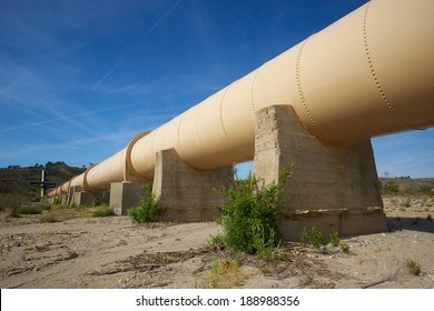 Water pipeline supplies the precious resource through the Los Angeles Aqueduct to the city.