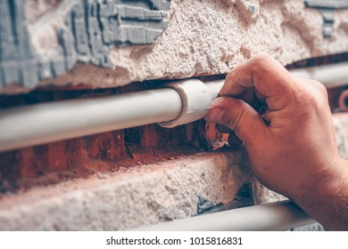 Water pipes made of polypropylene in the wall, plumbing in the house