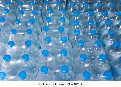 Water plastic bottle crates.