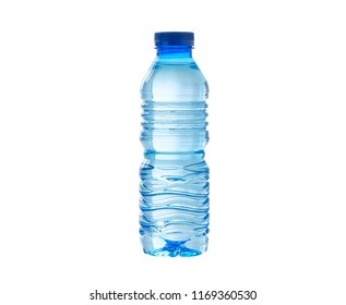 water in plastic bottle on isolated white background