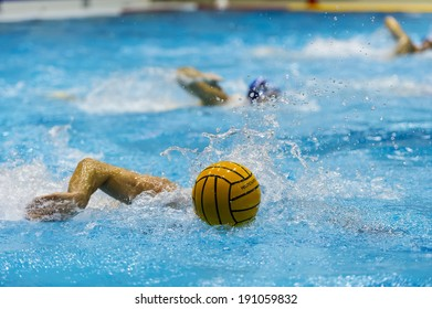 water polo playing in swimmer pool