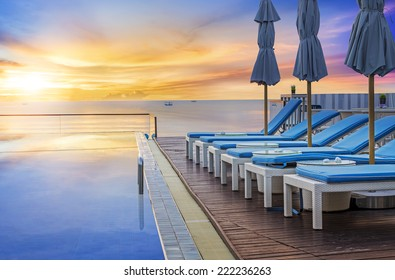 Water pool  vacation with sunrise background