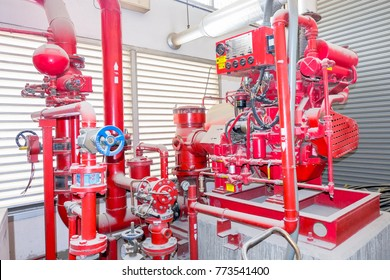 water pump station for fire fighting springkler system with backup diesel engine located in ventilation grill room there is a lot of dust on pipe line