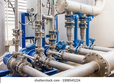Water pump station and pipeline on roof deck of water tank for industrial work