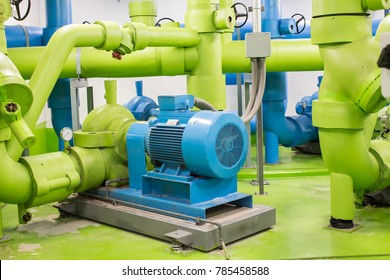 The Water pump system for water supply chiller system in building.