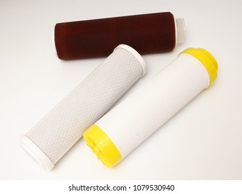 Water purification filters. White background.
