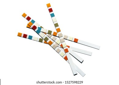 Water purity test strips, measurement of water quality. Isolated on white background. Five multicolored paper strips.