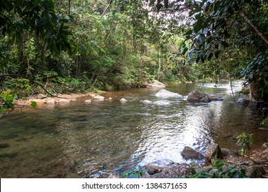 water racing through rocks to Guarau River in Peruibe, Brazil