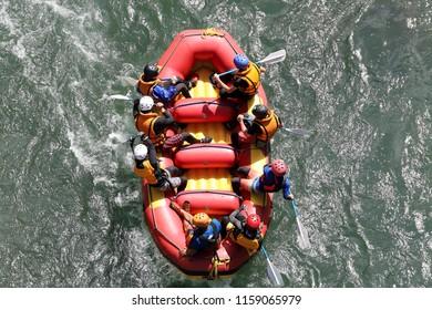 Water rafting on the rapids of river Yosino in Japan