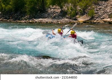 Water rafting on the rapids of river Koprucay