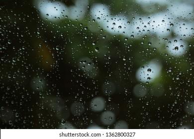 water rain drop on glass window
