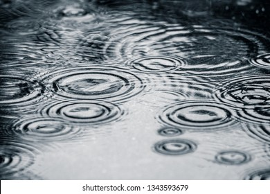 Water rain droplet splashes in puddle on ground. Dark, sad, moody and dramatic background. Water ripple texture.