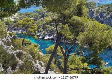 Water recreation in the Calanques National Park in the department of Bouches-du-Rhone, France