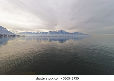 Water reflection of Lake Geneva. View from Montreux in Switzerland. Lake Geneva is a lake on the north side of the Alps,between Switzerland and France. It is one of the largest lakes in Western Europe