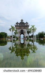 Water Reflection of Patuxai, Laos