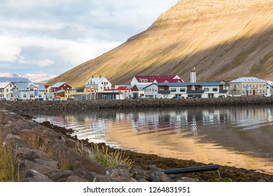 Water reflections at Isafjordur, west fjords, Iceland