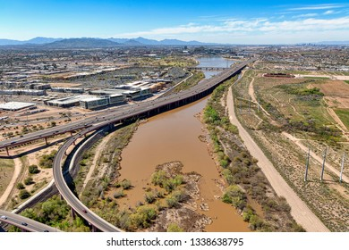 Water released into the Salt River leading to the Tempe Town Lake due to recent rains