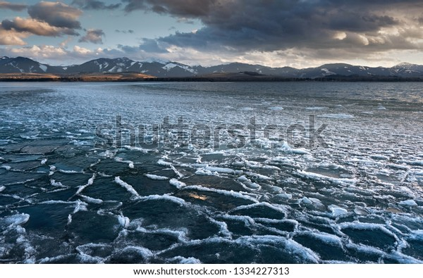 water reservoir Liptovska Mara, ice on the water surface, Slovak Republic, Europe